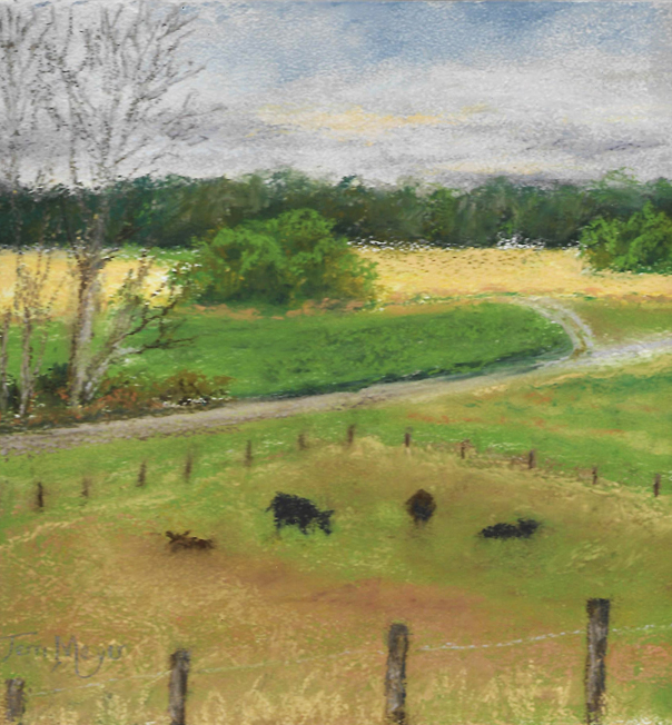 plein air pastel - 7-2-16 East Pasture late in the day s